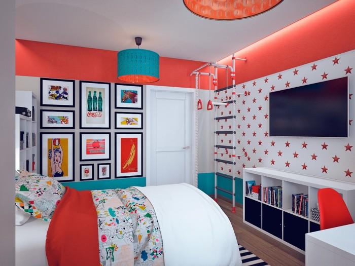 Дизайн спальни для мальчика выполнен в стиле под названием «поп-арт».