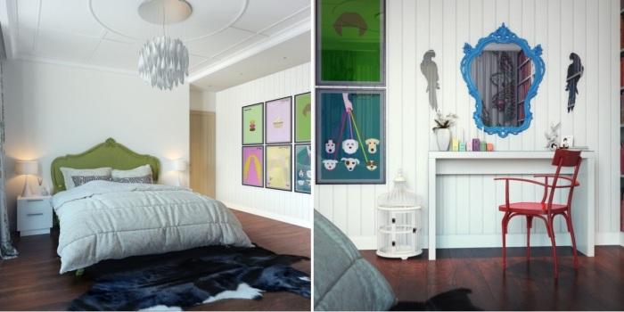 Интерьер спальни в стиле поп-арт.