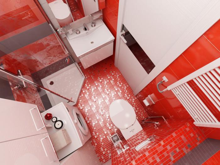 Сверху видно, что в этой ванной помещается все, что нужно.