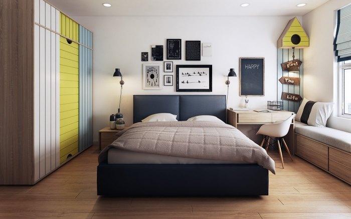 Спальня, оформленная, как домик для маленькой птички.