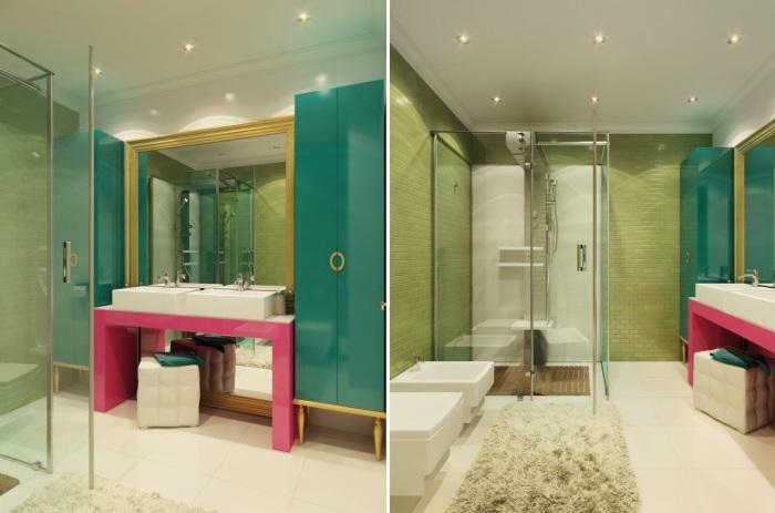 Красочная ванная комната в стиле поп-арт.