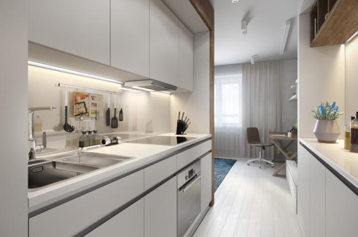Кухня в питерской квартире площадью 29,8 квадратных метров.