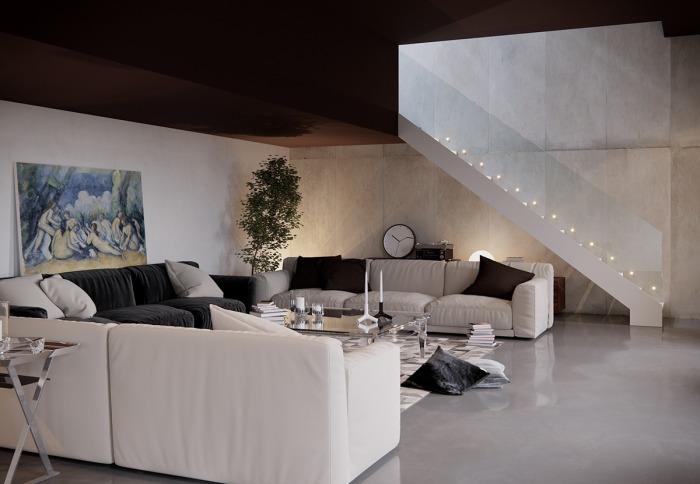 Картина в цвете дополняет черно-белый интерьер.