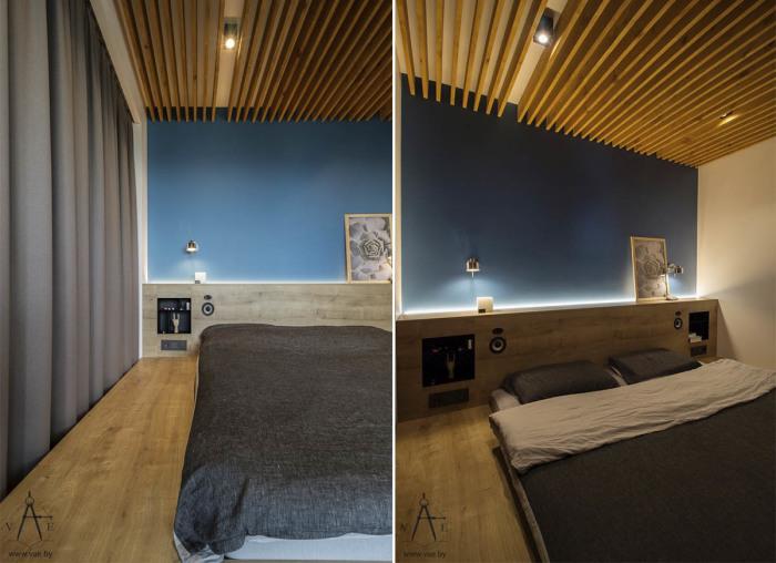 Спальное место находится в нише, закрывается с помощью плотных штор и оснащено мягким светом.