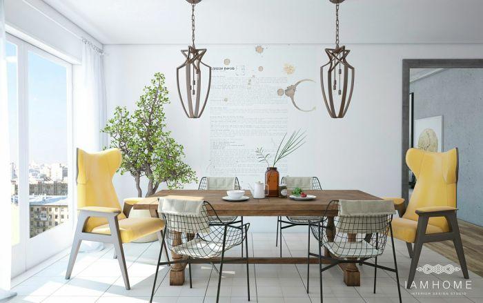 Обеденный стол с необычными стульями.