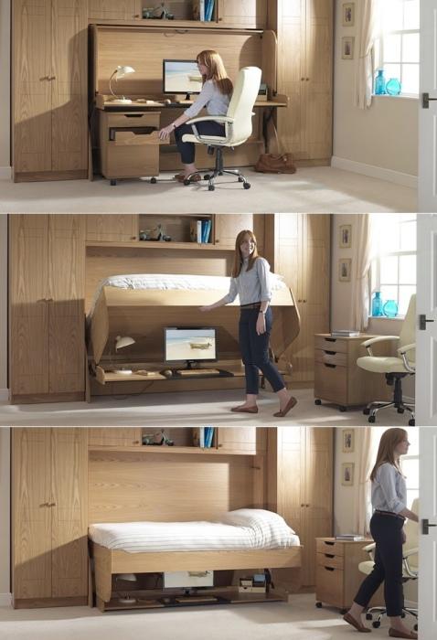 Оригинальный рабочий стол, который трансформируется в кровать.
