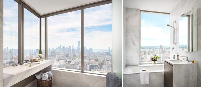 Ванная комната с панорамными окнами в апартаментах Жизель Бундхен (Gisele Bundchen) и Тома Брэди (Tom Brady).