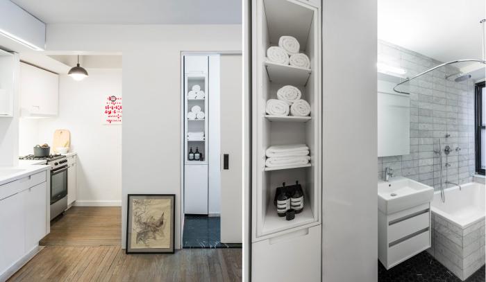 Полноценные кухня и ванная комната в квартире, площадь которой составляет всего 36 квадратных метров.
