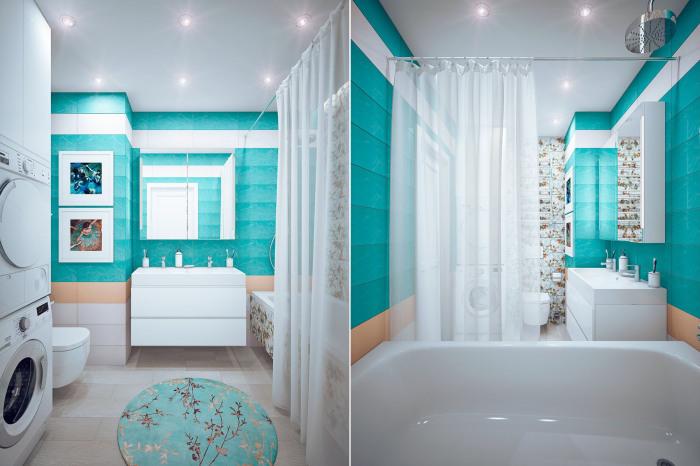 Ванная комната, которой будут пользоваться владельцы квартиры.