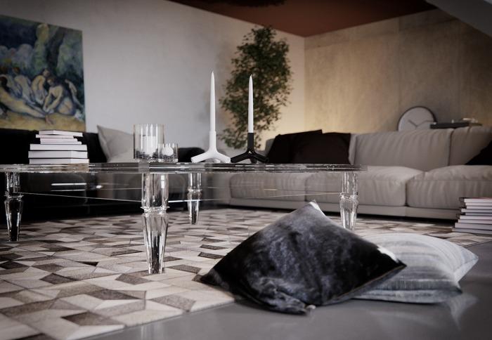 Контрастная гостиная с прозрачным стеклянным столом.