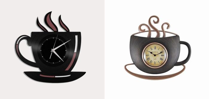 «Горячие» кухонные часы в виде чашечек с чаем или кофе.