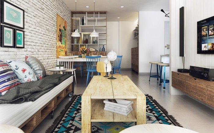 Пятый пример - апартаменты, которые смело можно назвать разноцветными.