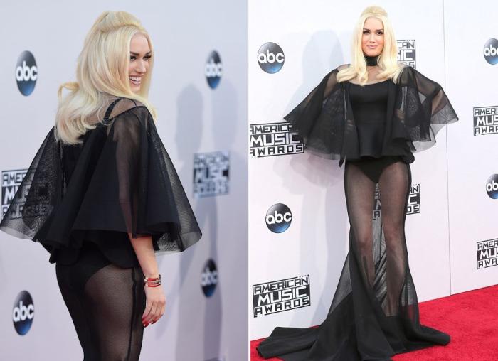 Известная американская исполнительница Гвен Стефани (Gwen Stefani) в черном полупрозрачном наряде от кувейтского дизайнера Yousef Аl-Jasmi.