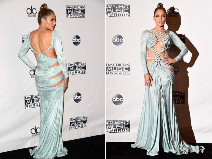 Ведущая церемонии «American Music Awards-2015» Дженнифер Лопес (Jennifer Lopez) в открытом наряде от молодого ливанского дизайнера Charbel Zoe.