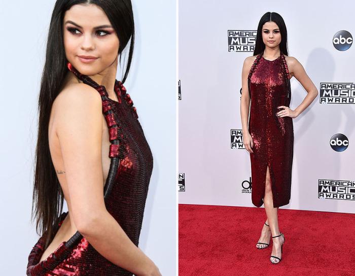 Популярная американская исполнительница Селена Гомес (Selena Gomez) в ярко-красном платье из пайеток с открытой спиной от знаменитого французского модного дома «Givenchy».