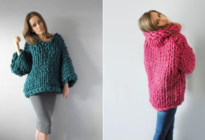 Свободные свитера очень крупной вязки из 100-процентной австралийской мериносовой шерсти.