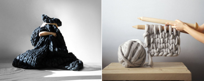 Украинский дизайнер Анна Мо использует крупную пряжу и огромные спицы для создания своих уютных вещей.