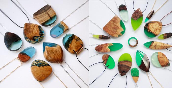 Потрясающие украшения ручной работы, созданные из природных материалов - смолы и древесины.