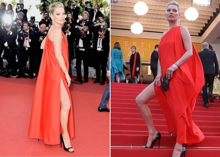 Британская супермодель и актриса Кейт Мосс (Kate Moss) в платье ярко-красного цвета от американского бренда «Halston Heritage».