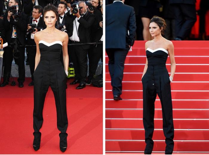 Британская певица, модель, актриса и модный дизайнер Виктория Бекхэм (Victoria Beckham) в черном комбинезоне из собственной коллекции.