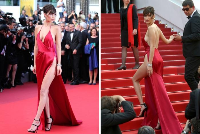 Американская топ-модель Белла Хадид (Bella Hadid) в откровенном платье алого цвета от французского кутюрье Alexandre Vauthier (Александр Вотье).