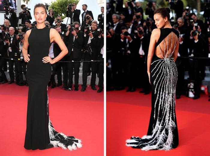 Российская супермодель Ирина Шейк (Irina Shayk) в длинном черном платье с интересным декором от «Miu Miu» - линии молодежной одежды итальянского Модного дома «Prada».