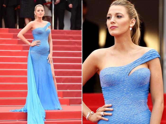 Американская актриса и фотомодель Блейк Лайвли (Blake Lively) в платье с разрезом и шлейфом от итальянского Модного дома «Versace».