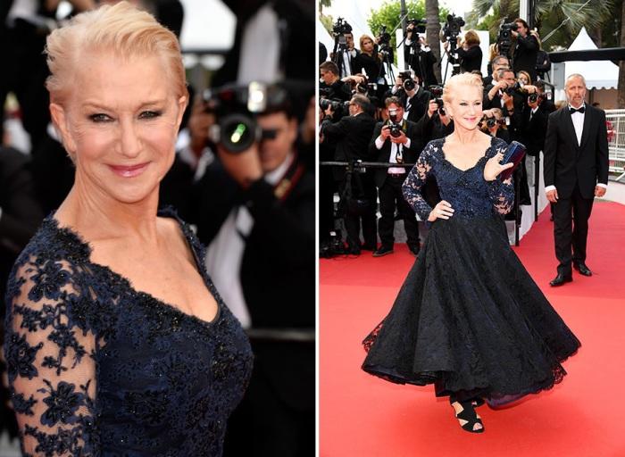 Английская актриса, лауреат премии «Оскар» Хелен Миррен (Helen Mirren) в кружевном платье «Bruce Oldfield Couture».
