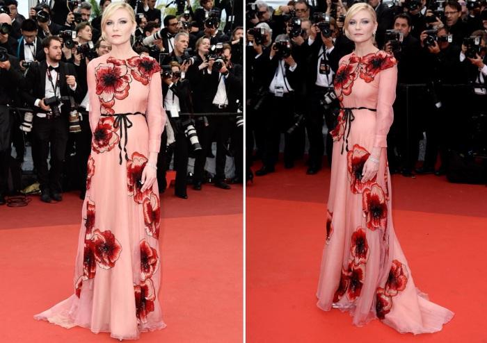 Американская актриса, модель и певица Кирстен Данст (Kirsten Caroline Dunst) в платье с цветочным принтом от итальянского Модного дома «Gucci».