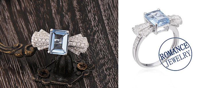 LaMoreDesign Aquamarine and Diamond Ring Set, вставки - бриллианты, голубой аквамарин, цена - 1,483 доллара.