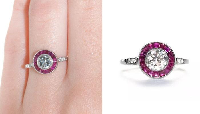 Trumpet & Horn Vintage-Inspired Ruby and Diamond Ring, вставки - бриллианты, рубины, цена - 5,950 долларов.