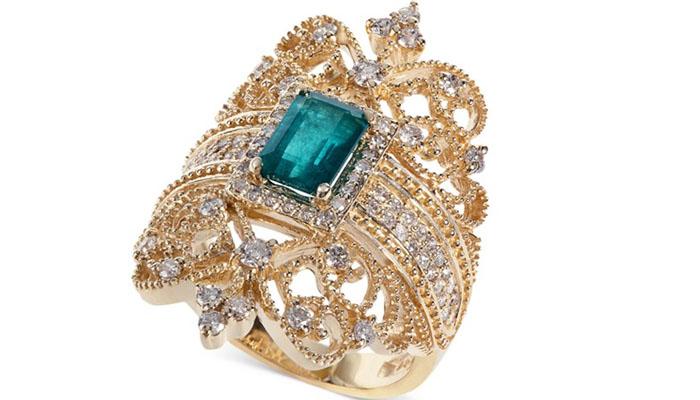 Brasilica Emerald and Diamond Ring, вставки - изумруд, бриллианты, цена - 2,999 долларов.