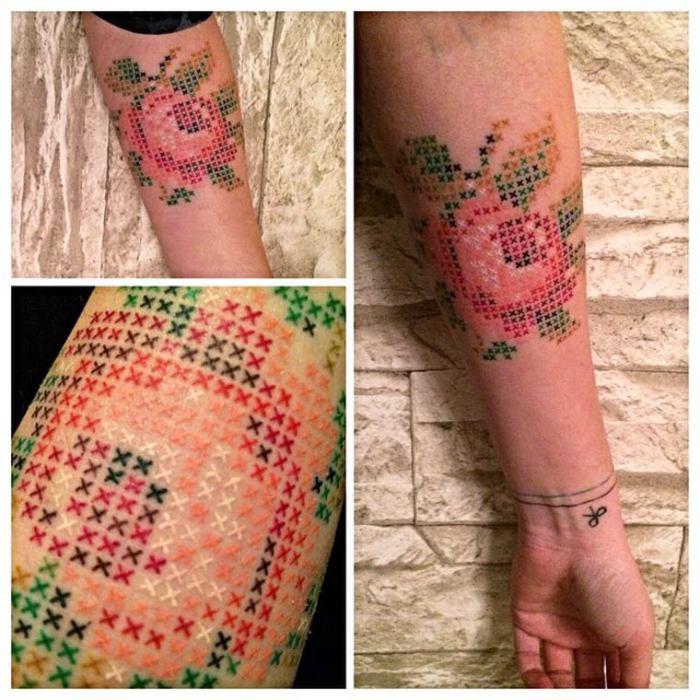 Очень красивые и оригинальные татуировки-вышивки от турецкого мастера Eva Krbdk.