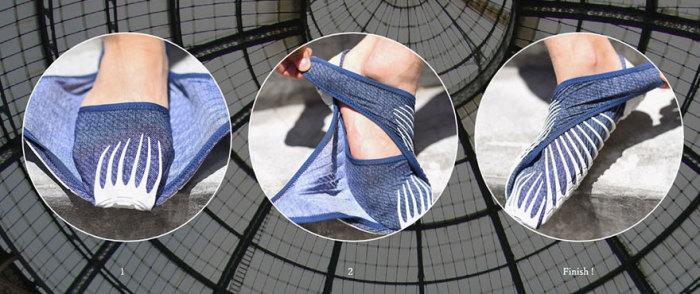 «Furoshiki shoes» - необычные кроссовки без шнурков и липучек, которые просто наматываются на ноги.