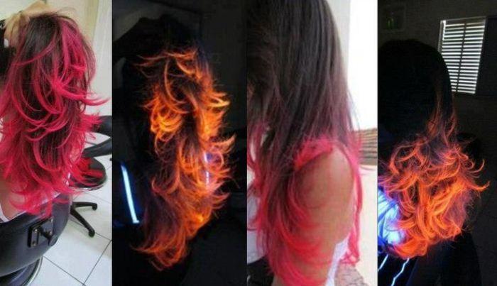 Волосы, светящиеся в темноте, выглядят просто потрясающе.