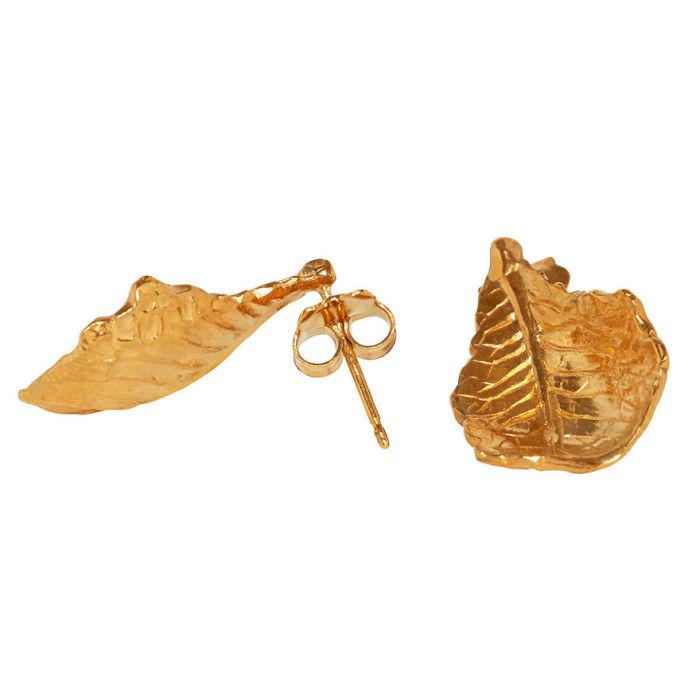 Серебряные с золотым напылением серьги от ювелирной компании «Goldie Rox», изображающие листья салата, которые используются для приготовления сочных бургеров.