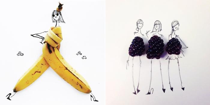 Потрясающие наряды, созданные художницей Гретхен Роерс (Gretchen Roehrs) из бананов и ежевики.