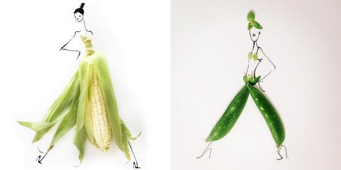 Потрясающие наряды, созданные художницей Гретхен Роерс (Gretchen Roehrs) из зеленого горошка и кукурузы.
