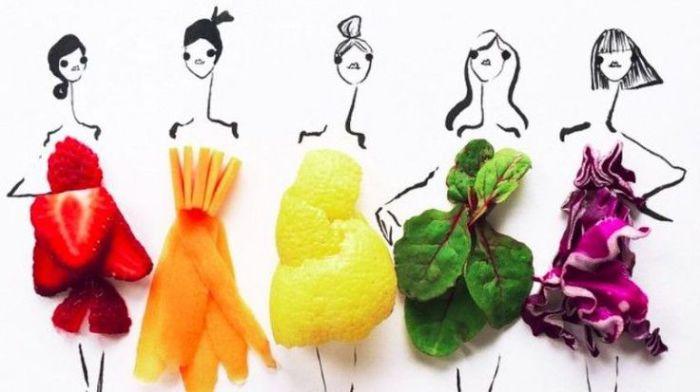 Художница создает необычные наряды из различных продуктов питания.