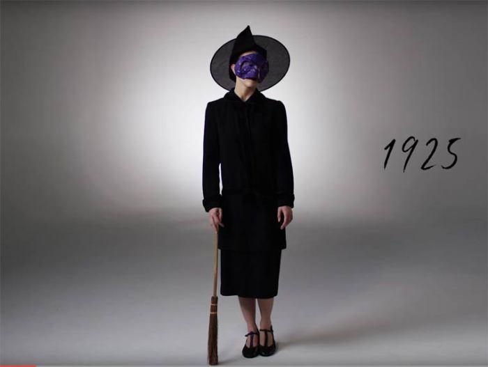 В двадцатые годы прошлого столетия популярным был образ ведьмы в остроконечной шляпе и с метлой.