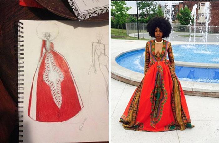 Кайма сама придумала дизайн выпускного платья и сшила его своими руками.