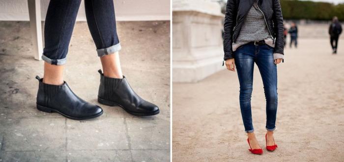 Подвернутые джинсы-скинни с узкими манжетами.