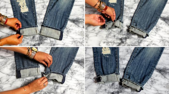 Алгоритм создания небрежной манжеты на рваных джинсах бойфренда.