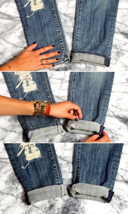 Алгоритм создания закрученной манжеты для джинсов бойфренда.