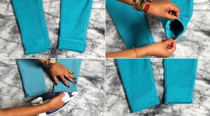 Алгоритм создания потайной манжеты на стрейчевых джинсах.