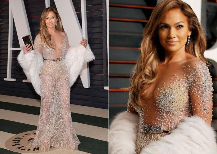 Для вечеринки Vanity Fair в 2015 году Дженнифер Лопес выбрала прозрачное платье, расшитое стразами, от ливанского дизайнера Зухаира Мурада.