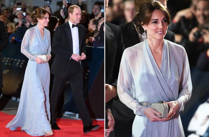 Кейт Миддлтон в платье от Jenny Packham на мировой премьере картины «007: Спектр» в Лондоне.