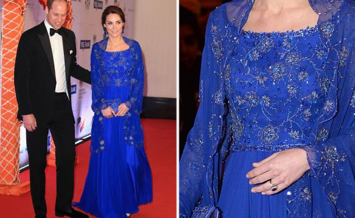 Кейт Миддлтон в платье от британского дизайнера Jenny Packham на гала-концерте в Мумбаи.