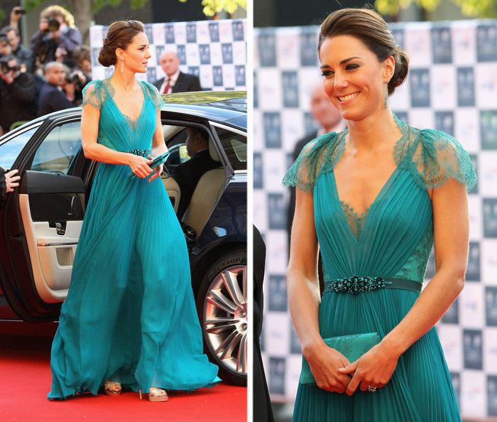Кейт Миддлтон в платье от Jenny Packham в «Королевском Альберт-Холле» на мероприятии, целью которого было поддержать Британскую сборную на летних Олимпийских играх в Лондоне.