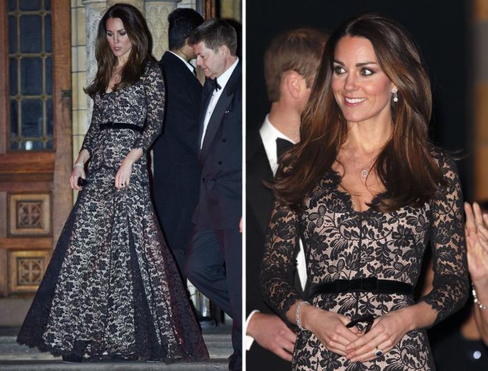 Кейт Миддлтон в платье от английского модельера Alice Temperley на одной из кинопремьер.